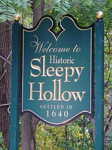 Sign at Sleepy Hollow city limits.